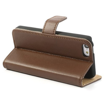 iPhone SE Slim Wallet Case Leather Brown