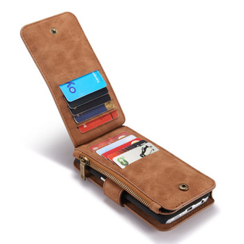 Samsung Galaxy S6 EDGE Wallet Leather Case Brown-14 Card Slots
