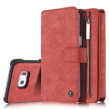 Samsung Galaxy S6 Leather Case Wallet Red-14 Card Slots