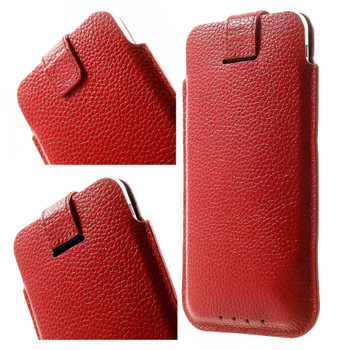 iPhone 7 Real Leather Pouch Case Red