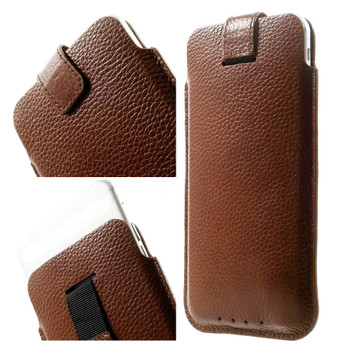 iPhone 7 PLUS Real Leather Pouch Case Brown