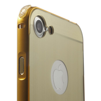 iPhone 7 Metal Aluminum Bumper Case+Slide Back Gold