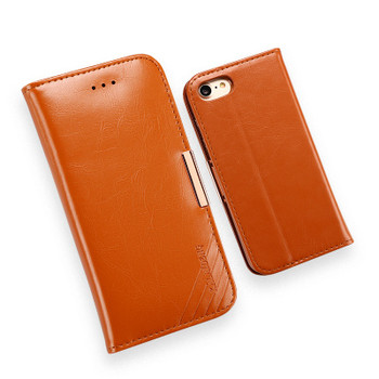 iPhone 7 Premium Leather Case Wallet Brown