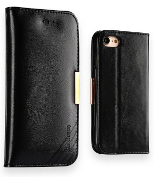 iPhone 7 Premium Leather Case Wallet Black