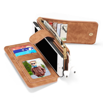iPhone 7 Leather Wallet Case Cover Brown-14 Card Slots