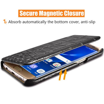 iCarer Samsung S7 EDGE Crocodile Case Cowhide Leather