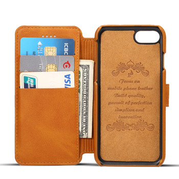 iPhone 7 Retro Leather Protective Wallet Cover Tan