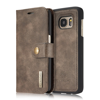 Samsung S7 Phone Leather Wallet+Magnetic Removable Case Coffee