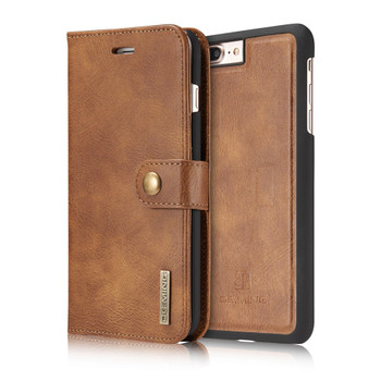 iPhone 7 PLUS Leather Wallet Brown With Removable Case