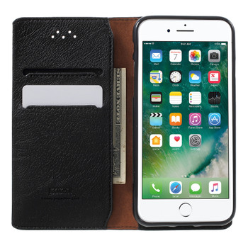 iPhone 7 Real Leather Cover Wallet Black