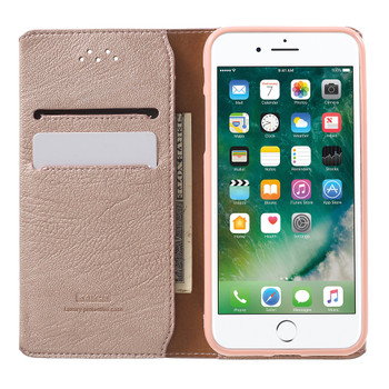 iPhone 7 Real Leather Cover Wallet Rose Gold