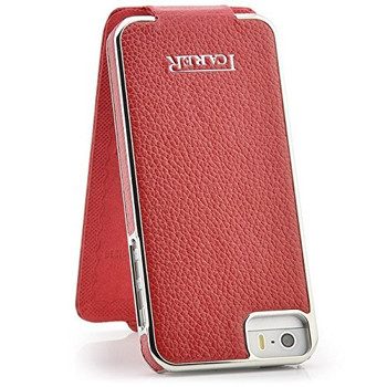 iPhone SE Real Leather Designer Flip Case Red