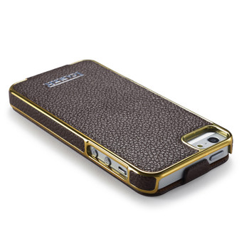 iCarer iPhone 5S 5 Real Leather Luxury Flip Case Brown