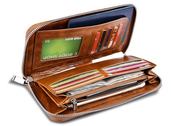 Cowhide Leather Passport Wallet with Zipper