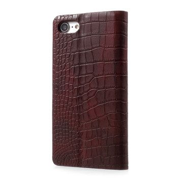 iPhone 7 Leather Case Crocodile Wine Red
