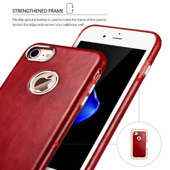 iCarer iPhone 7 Vintage Leather Case Red