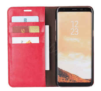 Samsung Galaxy S8 Genuine Leather Case Crazy Horse Wallet Red