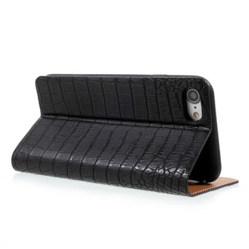 iPhone 8 Crocodile Case Cover Black Leather