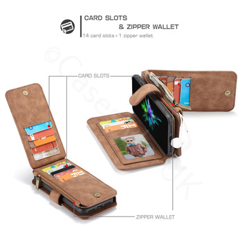 iPhone X Leather Case Wallet with 14 Card Slots Brown