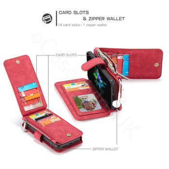 iPhone X Leather Case Wallet with 14 Card Slots Red