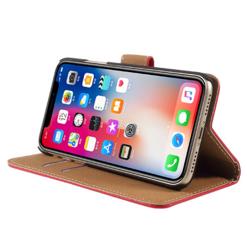 iPhone X Leather Case Wallet Red