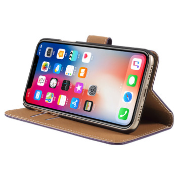 iPhone X Leather Case Wallet Purple