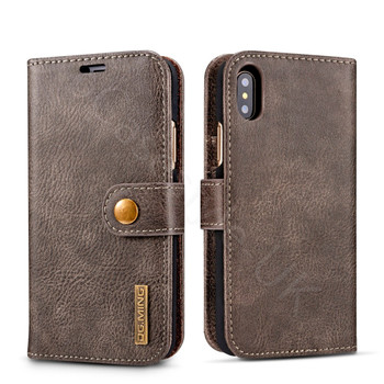 iPhone X Leather Wallet+Removable Case Cover Coffee