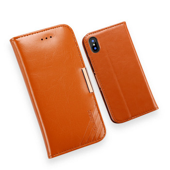 iPhone X Premium Leather Cover Case Soft Brown