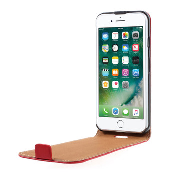iPhone 8 Leather Flip Case Cover Red