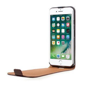 iPhone 8 Leather Flip Case Cover Brown