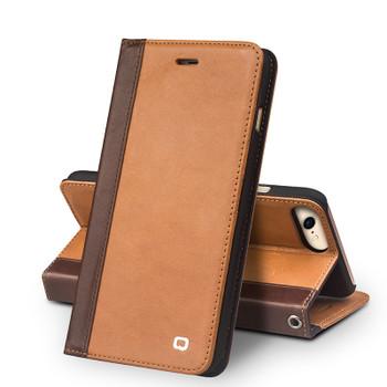 Qialino iPhone 8 Handmade Leather Case Tan