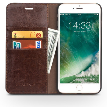 Qialino iPhone 8 Luxury Leather Case Classic Brown