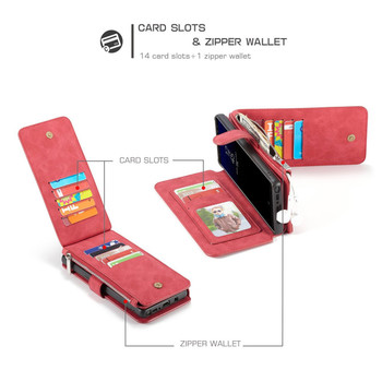 Samsung Galaxy Note 8 Multi-Card Leather Case Cover Red