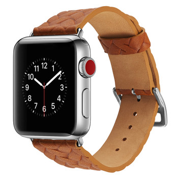 Apple Watch 42mm Series 3 2 1 Cowhide Leather Strap Woven Tan