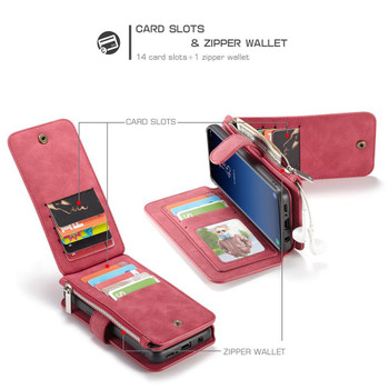 Samsung Galaxy S9 Leather Wallet 14 Card Pockets/Cash Zipper Case Red