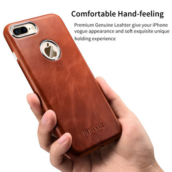"iCarer iPhone 8+""Plus"" Luxury Leather Case Brown"
