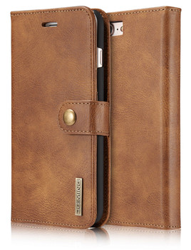 "iPhone 8+""Plus"" Leather Wallet Brown With Magnetic Case"