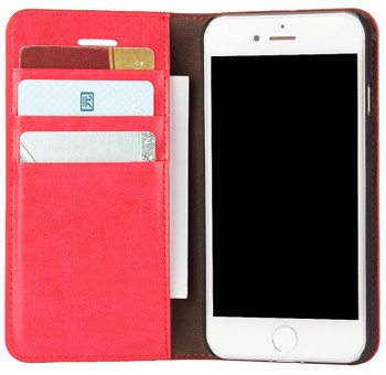 iPhone 8 Real Leather Wallet Cover Case Red