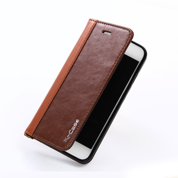 iPhone 7 Bookbook Style Leather Case Brown