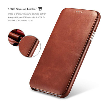 iPhone X/10 Real Leather Curved Edge Case Brown