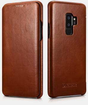 """Samsung Galaxy S9+""""Plus"""" Genuine Leather Flip Case Brown"""