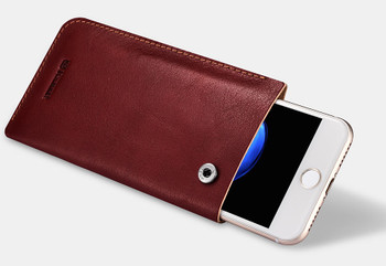 "iPhone 7+""Plus"" Genuine Leather Handmade Pouch Case Wine Red"