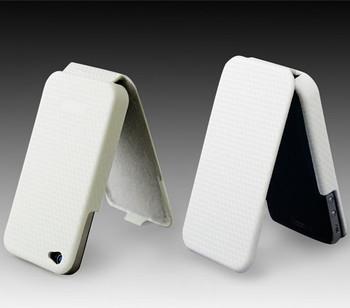 iPhone 4S 4 Carbon Fiber Flip Leather Case White