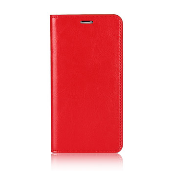 iPhone XS Real Leather Case Book Style Red