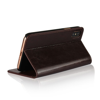 iPhone XS Real Leather Case Book Style Dark Brown