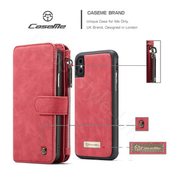 iPhone XS Leather Wallet Case-14 Card Slots Red