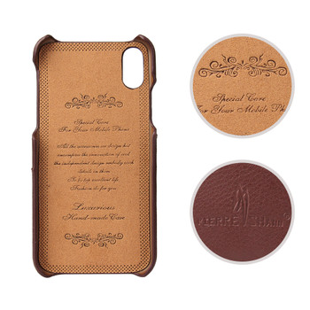 iPhone XS Leather Case Card Holder Brown