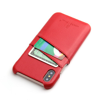 iPhone XS Leather Case Card Holder Red