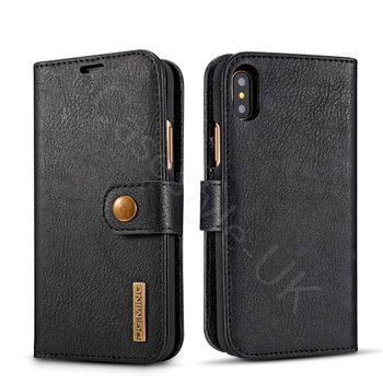 iPhone XS Leather Folio Case+Magnetic Cover Black