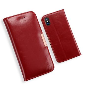 iPhone XS Premium Leather Case Dark Red